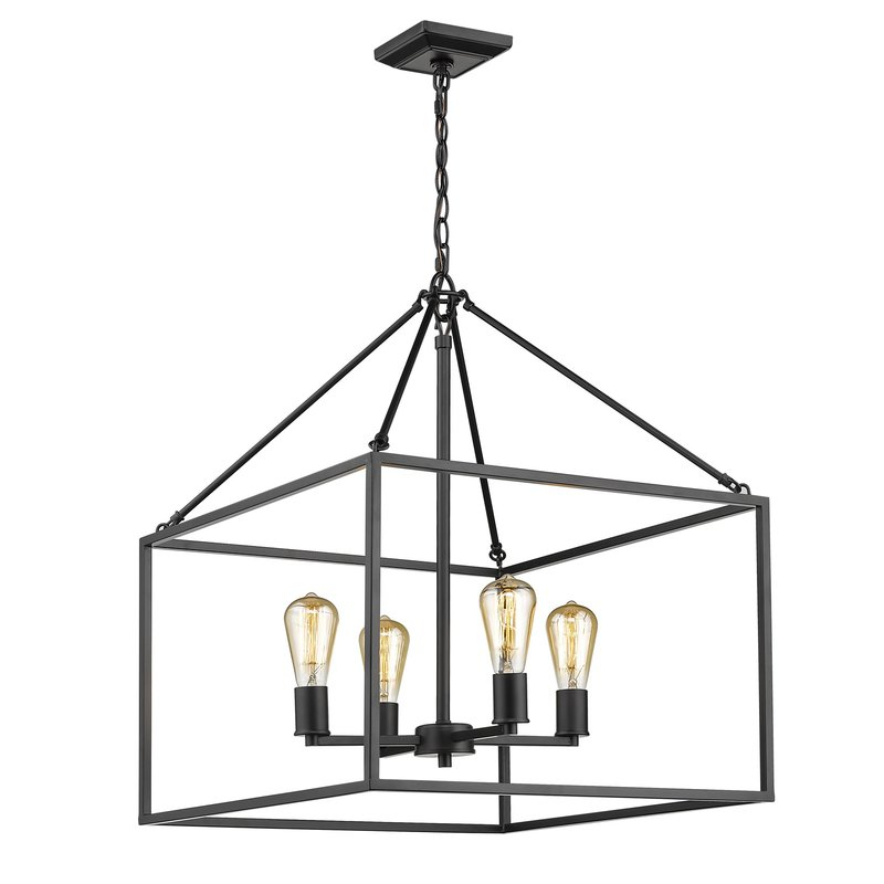 Zabel 4 Light Lantern Square / Rectangle Pendant Intended For Best And Newest 4 Light Lantern Square / Rectangle Pendants (View 23 of 25)