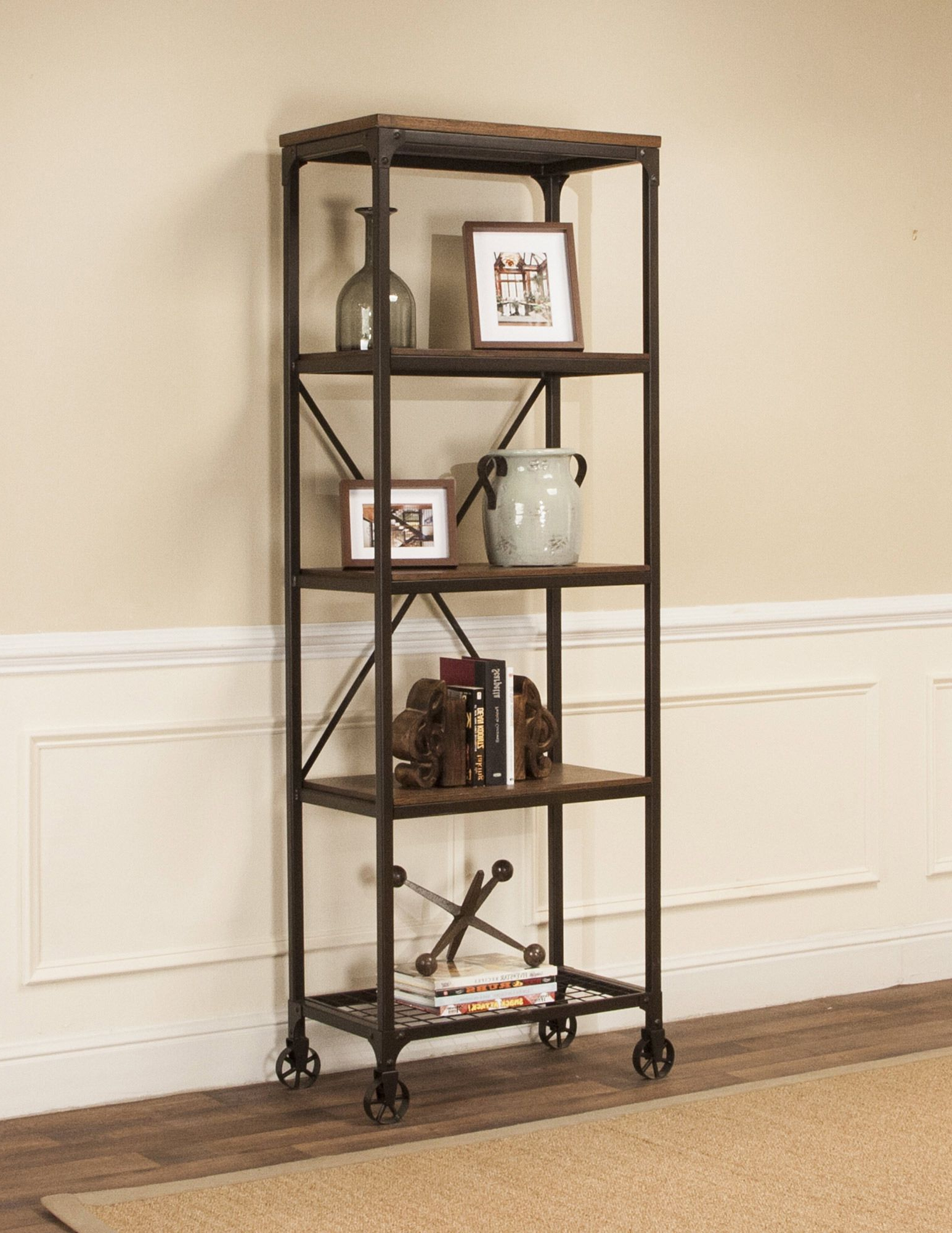 Zona Etagere Cube Bookcases Intended For 2020 Rustic Elm Industrial 4 Shelf Bookcase In Black/brown (View 7 of 20)