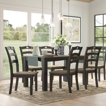 2019 Keown 43'' Solid Wood Dining Tables For Nadine 7 Piece Dining Set In (View 19 of 25)