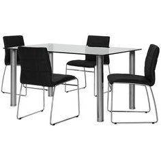 2019 Napoli Black Rectangular Table & 4 Upholstered Chairs Within Anzum (View 4 of 25)