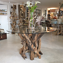2019 Natural Driftwood Round Dining Table Seats 6 (View 18 of 25)