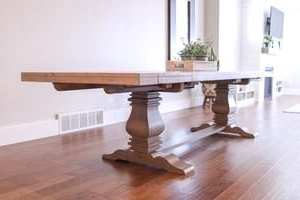 2019 Serrato Pedestal Dining Tables Pertaining To Florence Rectangular Double Pedestal Dining Table In (View 12 of 25)