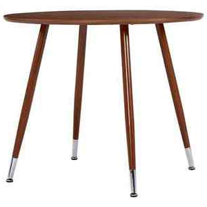 """2019 Vidaxl Dining Table Brown Round 35.4"""" Mdf Steel Home Throughout Akitomo (View 23 of 25)"""