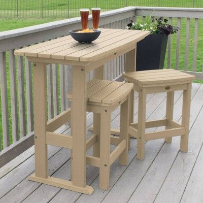 2020 3pc Lehigh Counter Height Patio Balcony Set Tuscan Taupe Inside Keown 43'' Solid Wood Dining Tables (View 20 of 25)