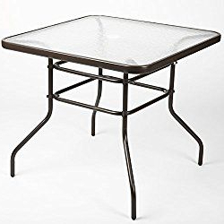 """2020 Cainsville 32'' Dining Tables In Luckup 32"""" X 32"""" Patio Outdoor Dining Table Tempered Glass (View 3 of 25)"""