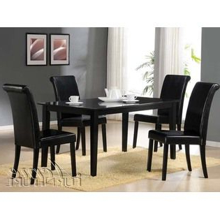 2020 Cyber Furnishing Joe Black Finish Dining Table Set 700 Intended For Steven 39'' Dining Tables (View 7 of 25)