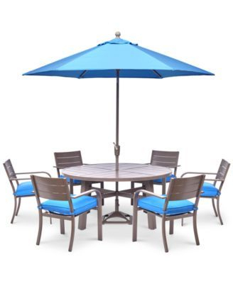 2020 Neves 43'' Dining Tables Regarding New! Ocean Port Outdoor Aluminum 7 Pc (View 13 of 25)
