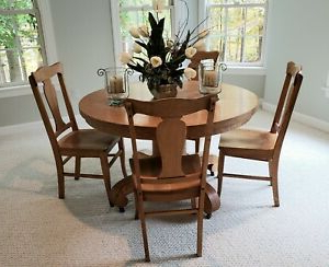 """36"""" Round Oak Dining Table Set With Four (4) Wooden Chairs With Latest Pevensey 36'' Dining Tables (View 14 of 25)"""