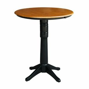 """36"""" Round Top Pedestal Table With 12"""" Leaf – Dining Intended For Well Liked Counter Height Pedestal Dining Tables (View 19 of 25)"""