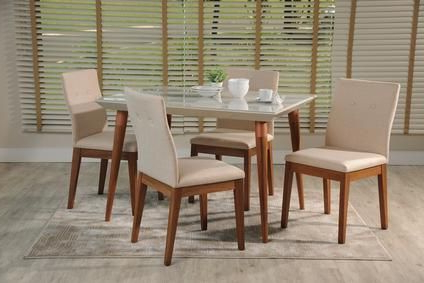 """5 Piece Laurel 47.24"""" And Rosa Dining Set In White Gloss With Regard To Most Recently Released Gunesh (View 8 of 25)"""