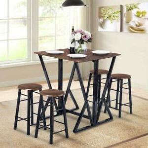 5 Piece Pub Table Dining Set Counter Height Table Set W/4 Within Current Dankrad Bar Height Dining Tables (View 9 of 25)