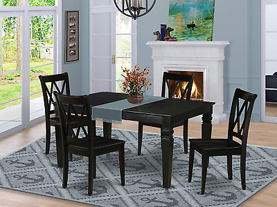 """5pc Rectangle 42/60"""" Dining Table With 18 In Butterfly Within Most Current Warnock Butterfly Leaf Trestle Dining Tables (View 16 of 25)"""