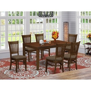 7 Pc Wd Kraven Dining Set – Overstock – 14227287 With Preferred Babbie Butterfly Leaf Pine Solid Wood Trestle Dining Tables (View 20 of 25)