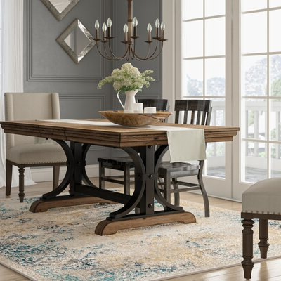 8 + Seat Rectangular Kitchen & Dining Tables You'll Love Intended For Most Recent Carelton 36'' Mango Solid Wood Trestle Dining Tables (View 21 of 25)