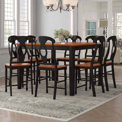 9 Piece Counter Height Kitchen & Dining Room Sets You'll With Famous Wes Counter Height Rubberwood Solid Wood Dining Tables (View 13 of 25)