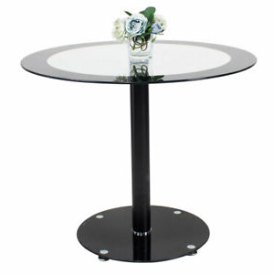 90cm/35.4'' Round Glass Dining Table With Bar & Chrome Inside 2019 Akito (View 21 of 25)