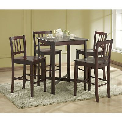 Abby Bar Height Dining Tables With Regard To Newest 5 Piece Espresso Pub Bar Height Dining Table Set (View 5 of 25)