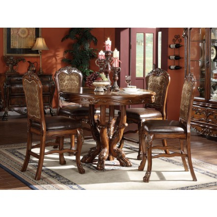 Acme Dresden 5 Pc Round Counter Height Dining Table Set In Pertaining To Most Recent Counter Height Pedestal Dining Tables (View 17 of 25)