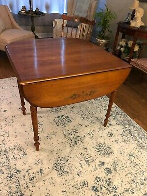 Adams Drop Leaf Trestle Dining Tables With Most Recently Released Hitchcock Solid Maple Wood Stenciled Drop Leaf Dining (View 23 of 25)