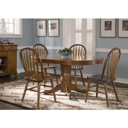 Adams Drop Leaf Trestle Dining Tables Within Most Popular Liberty Furniture Nostalgia 5pc Oval Pedestal Table Set In (View 13 of 25)