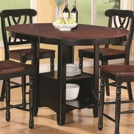 Addison Five Piece Counter Height Table With One Drop Inside Popular Andrelle Bar Height Pedestal Dining Tables (View 13 of 25)