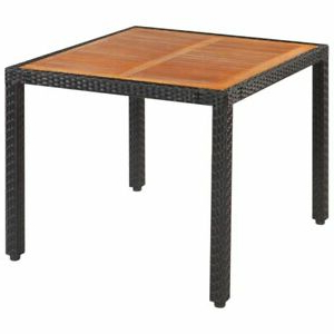Akitomo 35.4'' Dining Tables For Newest Vidaxl Solid Wooden Outdoor Table Poly Rattan (View 4 of 25)