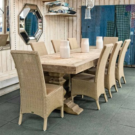 Alexxia 38'' Trestle Dining Tables With Popular Cool Wicker Trestle Dining Table 8 Wicker Dining Chairs (View 14 of 25)