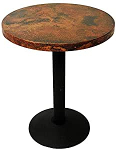 """Amazon – 30"""" Round Copper Dining Table With Cast Iron For Well Known Andrelle Bar Height Pedestal Dining Tables (View 22 of 25)"""