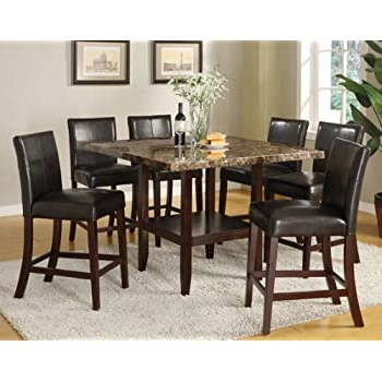 Amazon – 7 Pc Idris Ii Collection Faux Marble Top Regarding Most Current Counter Height Pedestal Dining Tables (View 20 of 25)
