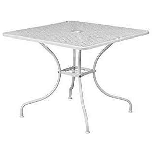 Amazon – Flash Furniture 35.5'' Square White Indoor Within Newest Montauk (View 19 of 25)