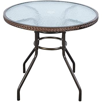 Amazon : Learm 23.6 Inch Tempered Glass Coffee Round Intended For Popular Crilly (View 9 of 25)