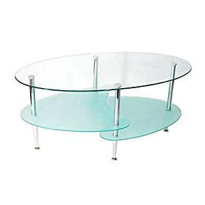 Amazon: New 38 Inch Wide Oval Multilevel Glass Coffee For Well Known Nalan 38'' Dining Tables (View 24 of 25)