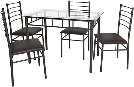 Amazon: Vecelo Dining Table With 4 Chairs Brown: Home Regarding Widely Used Conerly (View 8 of 25)