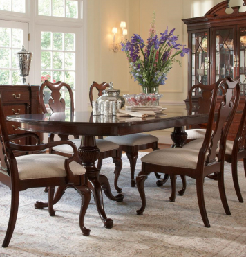 American Cherry Fredericksburg Rectangular Double Pedestal With Regard To Most Recent Sevinc Pedestal Dining Tables (View 6 of 25)
