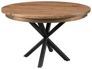 Amish Round Dining Table Modern Metal Base Solid Wood 42 Regarding Favorite Monogram 48'' Solid Oak Pedestal Dining Tables (View 9 of 25)