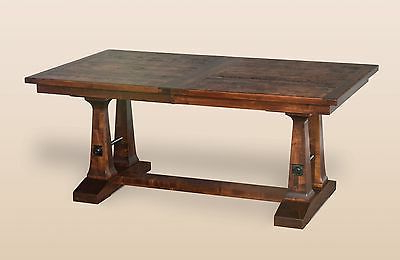 Amish Rustic Plank Trestle Dining Table Solid Wood For Most Recent Nerida Trestle Dining Tables (View 12 of 25)