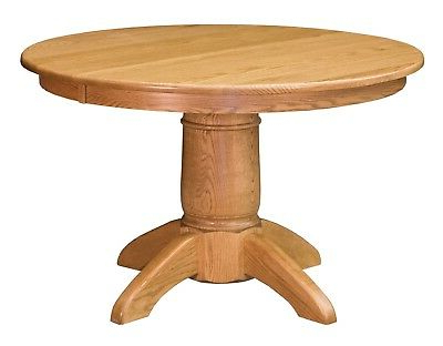 Amish Tuscan Round Pedestal Dining Table Solid Wood 42 With Most Current Sevinc Pedestal Dining Tables (View 8 of 25)