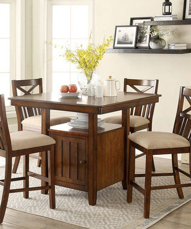 Another Great Find On #zulily! Cherry Finish Storage Regarding Most Up To Date Dawid Counter Height Pedestal Dining Tables (View 20 of 25)