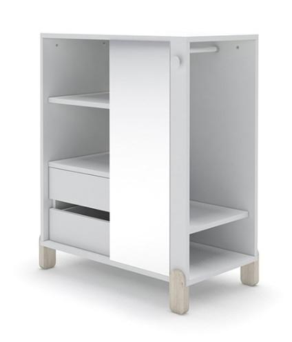 """Armoire Penderie Blanc Avec Miroir Et Pieds Bois Clair Et Regarding Newest Mode 72"""" L Breakroom Tables (View 3 of 25)"""