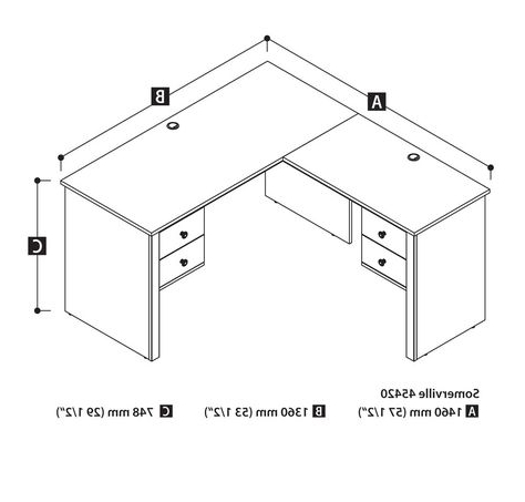 """Average Office Desk Size – Home Office Furniture Throughout Most Popular Dionara 56"""" L Breakroom Tables (View 20 of 25)"""