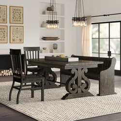 Babbie Butterfly Leaf Pine Solid Wood Trestle Dining Tables In Well Known Topsfield 4 Piece Dining Set & Reviews (View 15 of 25)