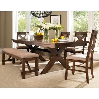 Babbie Butterfly Leaf Pine Solid Wood Trestle Dining Tables Intended For Trendy Shop Picket House Furnishings Flynn 7pc Dining Set Table (View 7 of 25)