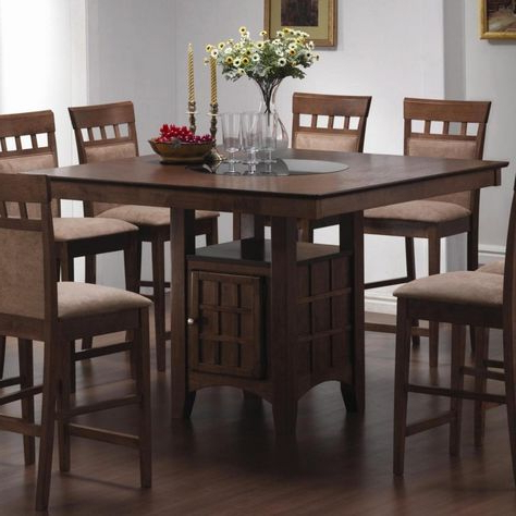 Bar Height Pedestal Dining Tables Pertaining To Most Popular Elegant Brown Wooden Counter Height Dining Table With (View 17 of 25)