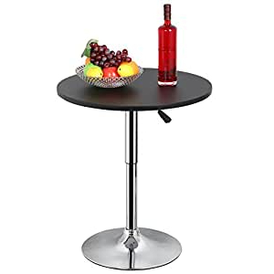 Barra Bar Height Pedestal Dining Tables Pertaining To Latest Topeakmart Black Round Cocktail Table With Stainless Steel (View 16 of 25)