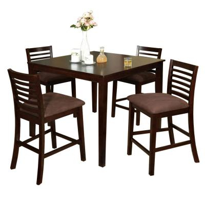 Bechet 38'' Dining Tables Throughout Recent Venetian Worldwide Eaton I 5 Piece Espresso Dining Set (View 9 of 25)