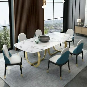 Bekasi 63'' Dining Tables Regarding Trendy Homary 63 Inch Rectangular White Faux Marble Top Dining (View 14 of 25)