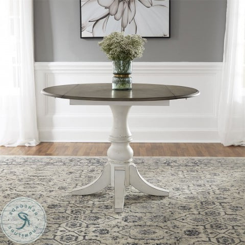 Best And Newest Adams Drop Leaf Trestle Dining Tables Intended For Magnolia Manor Antique White Drop Leaf Dining Table From (View 21 of 25)