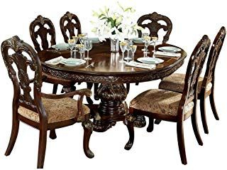 Best And Newest Debroux English Estate 7pc Dining Set Round/oval Table, 2 For Rhiannon Poplar Solid Wood Dining Tables (View 25 of 25)