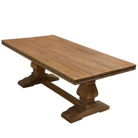 Best And Newest Rustic Solid Wood Trestle Pedestal Base Harvest Dining Inside Leonila 48'' Trestle Dining Tables (View 11 of 25)