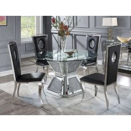 Best And Newest Silvertone Round Mirrored Dining Table Within Nashville 40'' Pedestal Dining Tables (View 6 of 25)